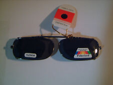 POLARIZED CLIP ON FISHING DRIVING SUNGLASSES 52MMx28MM GRAY & BROWN REDUCE GLARE
