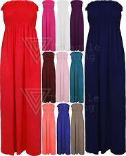 Ladies Womens Plain Bandeau Stretch Maxi Dress Long Beach Boho Strapless UK 8-14