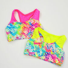 LITTLE GIRLS SPANDEX TWO COLOR NEON RAZORBACK BRA TOPS CHILDS SIZES Y2 & Y4 NWOT