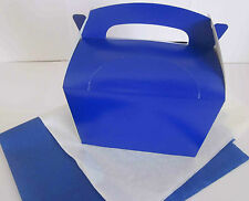 BLUE GIFT BOX AND x 2 TISSUE PAPER FAVOUR PICNIC LUNCH MEAL BOXES - PARTY FOOD