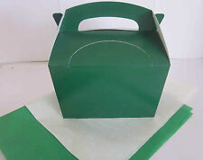 DARK GREEN PARTY GIFT BOX AND x 2 TISSUE PAPER FAVOUR PICNIC LUNCH MEAL BOXES