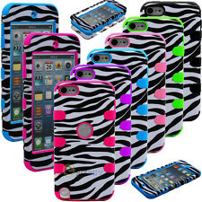 Zebra Hybrid Rugged Rubber Matte Hard Case Cover For iPod Touch 5 itouch 5th 5G