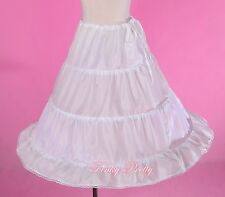 "Girl Children 3-Hoop Crinoline Petticoat Slip Underskirt White 24"" Long PC003"