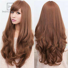 Womens Long Brown Curly Wavy Full Wigs Party Hair Cosplay Lolita Fashion 4Colors