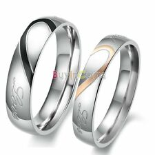 Smooth Rose Gold Heart-shaped Titanium Steel Promise Ring Wedding Lover Gift