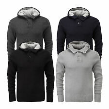 Charles Wilson Men's 100% Cotton Button Neck Hooded Jumper Sweater New