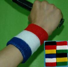 Sports Wristband Armband Sweatband Athletic Terry Cloth Cotton Blue White Red