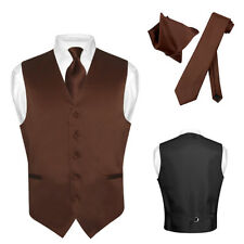 Men's Dress Vest NeckTie CHOCOLATE BROWN Neck Tie Set for Suit or Tuxedo