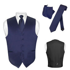Men's Dress Vest NeckTie NAVY BLUE Neck Tie Set for Suit or Tuxedo