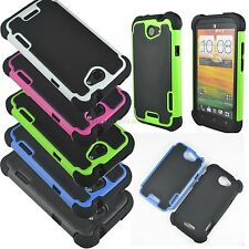 Anti-Shock Heavy Duty Hybrid Hard Rugged Rubber Armor Case Cover for HTC Mobile