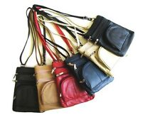 Real Genuine Leather Cross Body Bag Zippers Pocket Purse MSRP $38 Camel