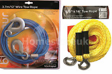 HEAVY DUTY TOW ROPE WITH LOCKING HOOKS FOR TOWING CAR CARAVAN BOATS RECOVERY