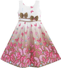 Sunny Fashion Girls Dress Brown Butterfly Double Bow Tie Party Age 4-12