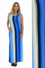 New Womens Maxi Ladies Stripe Print Dress Ankle Length Party Nouvelle Plus Size