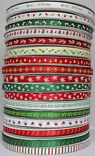 **NEW** Christmas Satin Ribbon collection Candy Cane Holly Leaves Snowflake Hat