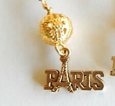 Paris, Eiffel Tower, Love Paris gold tone pewter charm on hook earrings