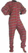 Red and Black With Grey Hearts Flannel Adult Footed Pajamas Footie Drop Seat New