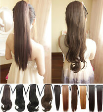 "Xmas Gift 18"" Curly 22"" Straight Binding Ponytail Clip in Hair Extension Women"