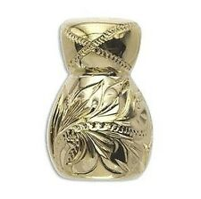 HAND-ENGRAVED HAWAIIAN 14K GOLD OVER STERLING SILVER IPU HEKE GOURD PENDANT