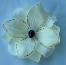 SKULL HAIR CLIP WITH IVORY FLOWER FOR DAY OF THE DEAD