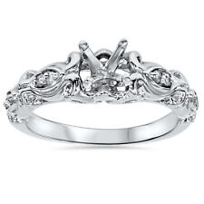 Vintage Diamond Engagement Ring Setting 14K White Gold Antique Unique Style 4-9