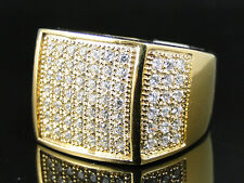 New Mens Yellow Gold Finish Stainless Steel 50 Stone Micro Pave Lab Diamond Ring