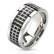 316L Stainless Steel Men's Mosaic Tile Design Spinning Band Ring Size 9-14