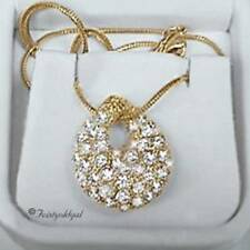 "14K GOLD GP 3 DIMENSIONAL CZ PAVE BEAN PENDANT W 18"" CHAIN COLOR CHOICE"