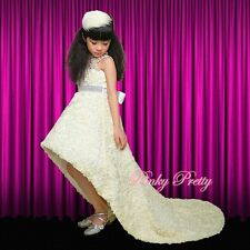 Ivory Embossed Flower Girl Formal Dress Gown Wedding Bridesmaid Age18m-9y FG262