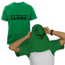 Ask Me About my Llama T-Shirt Halloween Easy Costume Tee Pull Over Head Flipover