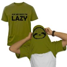 Ask me why I'm Lazy Sloth Flipover T-Shirt Halloween Funny Easy Costume 22 Color