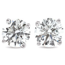 1 1/2Ct Round Brilliant Cut Natural Diamond Stud Earrings In 14K Gold