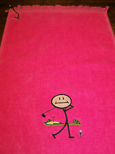 11x18 fringed golf towel. Embroidered with Stick Golf Figure18 color choices
