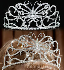 Bridal Pageant Beauty Contest Butterfly Silver / Pink / Blue Crystal Tiara