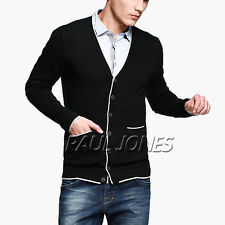Black Men's Slim Fit Thin V-Neck Thin Buttons Placket Knitting Sweater Size XS~L