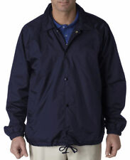 UltraClub Men's Snap Front Brushed Wind Resistant Nylon Coaches Jacket. 8944