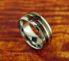 Tungsten Carbide Koa Wood Ring With Double Row Wedding Ring 8MM Dome Ring Gift