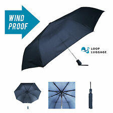 New Black Strong Auto Open & Close Windproof Umbrella Folding Compact Telescopic