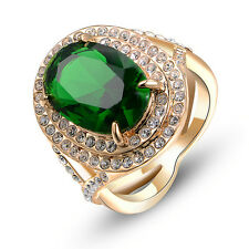 Green Emerald crystal cocktail Ring Party Gift 18K Yellow gold Gp R577