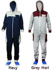Unisex Cargo Pockets Panels Hooded Twin Zip Puller Onesie All In One Jumpsuit