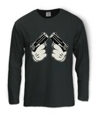 MICKEY GUN HANDS Long Sleeve T-Shirt Hip Hop Dope Gang Fresh Cali Swag Diamond