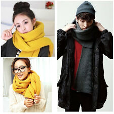 Fashion Korean Women Men Knit Scarf Winter Solid Long Warm Unisex Wrap Shawl