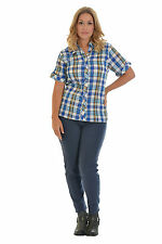 New Womens Shirt Ladies Top Short Sleeve Check Crinkle Nouvelle Plus Size 3XL