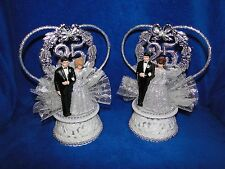 NEW 25TH WEDDING ANNIVERSARY BRIDE IN SHIMMERING SILVER & GROOM IN BLACK SUIT