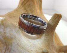 8mm Tungsten Carbide Genuine Hawaiian Koa Wood Comfort Fit Beveled Band Ring #2