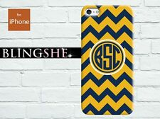 Customized iPhone case yellow blue chevron monogram aval. iPhone 4 4s 5 5s 5c