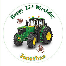 """JOHN DEERE TRACTOR CAKE TOPPER DECORATION 7.5"""" ROUND ICING OR RICE PAPER"""