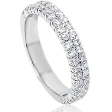 3/4CT Half Eternity Double Row Diamond Ring 14K White Gold