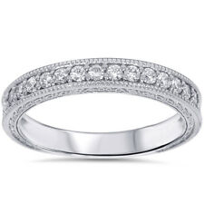 1/3CT Vintage Diamond Wedding Ring 14K White Gold Anniversary Stackable Antique