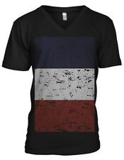 Giant Distressed French Flag World Cup Soccer Olympics Mens V-Neck T-Shirt